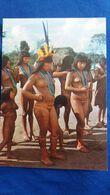 CPSM BRESIL BRASIL NATIVO INDIEN INDIO INDIENNES SEINS NUS NU NUE DANSE RITUEL YAMARICUMA XINGU  FOTO JESCO - América