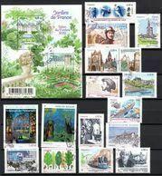(L404) Année 2011 : Quinze Timbres Et Un Feuillet (jardin Cheverny Villandry), Tous Oblitérés Et Gommés - Used Stamps