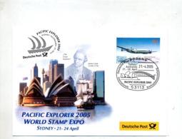 Lettre Cachet Bonn Exposition Sydney Sur Avion Theme Pont  Batiment - Marcophilie - EMA (Empreintes Machines)