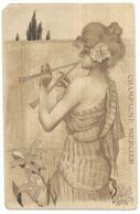 Raphael Kirchner Publicité Champagne Mercier Femme Art Nouveau Jouant D' Un Instrument De Musique - Illustrateurs & Photographes