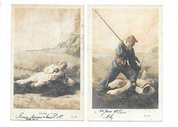 2 Cpa....photographe G.B. ...militaire...le Pillard .. J'étouffe ... A Moi....1904... - Wichera