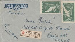 ROUMANIE ROYAUME AFFRANCHISSEMENT COMPOSE SUR LETTRE RECOMMANDEE POUR LA FRANCE 1947 - Cartas