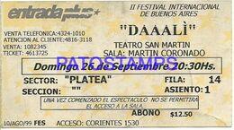 141130 ARGENTINA BUENOS AIRES DAAALI II FESTIVAL INTERNACIONAL ENTRADA TICKET NO POSTAL POSTCARD - Biglietti Per Concerti