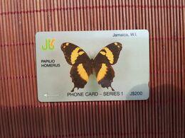 Phonecard Buterfly Jamaica 200 $ Used Control Number 8 JAMD Used Rare - Giamaica