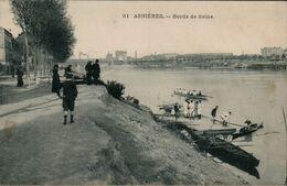 92 HAUTS DE SEINE - CP ANIMEE ASNIERES - BORDS DE SEINE - MURHAUSER ?? EDIT. PARIS N° 31 - CIRCULEE EN 1907 - Asnieres Sur Seine