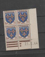 """FRANCE / 1944 / Y&T N° 604 ** : """"2ème Série Armoiries Des Provinces"""" (Orléannais) X 4 - Coin Daté 1944 03 21 ( ) - 1940-1949"""