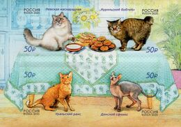 Russia - 2020 - Cats - Mint Self-adhesive Stamp Set - 1992-.... Föderation