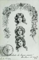 CPA Illustration Style     M M Vienne   Femme  Trois Visages Coiffure Couronne De Fleurs - Vienne