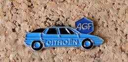 Pin's CITROËN XM Bleue Pub Aussrances AGF  - Peint Cloisonné- Fabricant Inconnu - Citroën