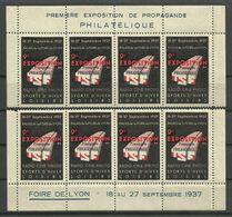 LYON 1937 / Lot 8 Vignettes ( Haut & Bas De Feuille ) 9ème Foire..propagande Philatélique..TSF.. Radio Ciné Photo - Philatelic Fairs