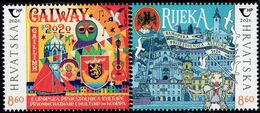 Croatia - 2020 - European Culture Capitals - Rijeka And Galway - Joint Issue With Ireland - Mint Stamp Set - Kroatien