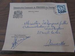 Lettre De L'administration Communale De PERONNES-LEZ-ANTOING Affranchie Au TARIF PREFERENTIEL Et Oblitérée Du RELAIS Ide - Postmark Collection