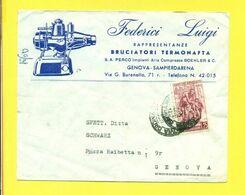STORIA POSTALE ITALIA - ISOLATI SU  BUSTA - SAMPIERDARENA - PUBBLICITARIE - BRUCIATORI - 1946-60: Marcophilie