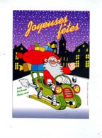 Carte Joyeuses Fetes Classe Verte Sainte Ursule Mulhouse Pere Noel Moto Neige - Autres