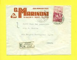STORIA POSTALE ITALIA - ISOLATI SU  BUSTA - RACCOMANDATA-PUBBLICITARIA - ARMI - TRIESTE - 1946-60: Marcophilie