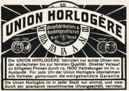 Original-Werbung/ Anzeige 1907 - UNION HORLOGÈRE UHREN / BIEL - GENF - GLASHÜTTE- Ca. 90 X 60 Mm - Pubblicitari