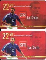 2-CARTE-SFR-RECHARGE GSM-22,90€;-Série EQUIPE De FRANCE-FOOT-ZIDANE-PlasticEpais Et  Fin-TBE - Cellphone Cards (refills)
