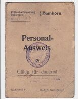 DEUTSCHLAND   --   PERSONAL AUSWEIS  --  1924  --  GERMAN  ID CARD  --  MAN PHOTO  --  HAMBORN, NEAR DUISBURG - Historische Dokumente