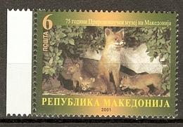 Macedonia 2001 Mi.No. 240 Makedonien Red Fox (Vulpes Vulpes) With Pups Animals Mammals 1v  MNH** 0,40 € - Cani