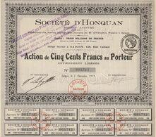 Indochine - Société D'Honquan / Action De 500 F De 1919 - Asien