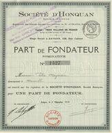 Indochine - Société D'Honquan / Part De Fondateur De 1919 - Asien