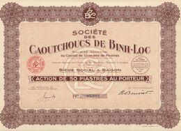 Indochine - Sté Des Caoutchoucs De Binh-Loc / Action De 50 Piastres De 1927 - Asien