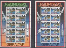 GIBRALTAR 613-614, 2 Kleinbogen, Postfrisch**, Europa: Europäische Weltraumfahrt, 1991 - Gibilterra