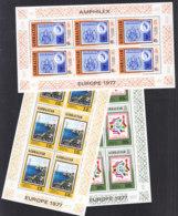 GIBRALTAR V364-366, 3 Kleinbogen, Postfrisch**, Internationale Briefmarkenausstellung AMPHILEX '77, Amsterdam, 1977 - Gibraltar