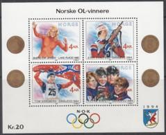 NORWEGEN Block 12, Postfrisch **, Olympische Winterspiele 1994, Lillehammer - Norwegische Olympiasieger, 1989 - Blocks & Kleinbögen