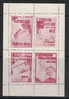 """BLOC NEUF ** TTB De 4 VIGNETTES """" 2e EXPOSITION PHILATÉLIQUE NICE 1931 AU PALAIS DE LA JETÉE PROMENADE """" - Expositions Philatéliques"""