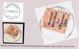 Ireland Kildare 1922 Rubber Climax Dater Of Birtown In Irish BAILE BIORRA 30 NOV.22 On Piece With Thom Rialtas 2d Orange - Ohne Zuordnung