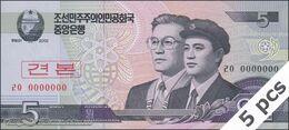 TWN - NORTH KOREA 58-SP - 5 Won 2002 (2009) DEALERS LOT X 5 - Specimen 0000000 - Prefix ㄹㅇ UNC - Korea, North
