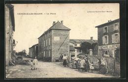 CPA Sennecé-les-Macon, La Place, Vue De La Rue Am Hotel Renard, Des Enfants Auf Der Strasse - Macon