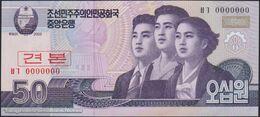 TWN - NORTH KOREA 60-SP - 50 Won 2002 (2009) Specimen 0000000 - Prefix ㅂㄱ UNC - Corea Del Nord
