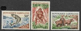 Gabon  1964  Sc#172-4  Fish, Gorilla, & Buffalo Set MNH  2016 Scott Value $5.90 - Gabón (1960-...)