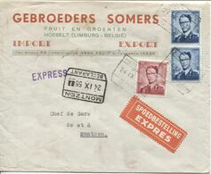 REF1690/ TP 925-926 (2) S/L.Exprès Gebroeders Somers Fruit&Groenten Hoeselt C.C.F. Hoeselt 24/9/55 > Montzen C.d'arrivée - Briefe U. Dokumente