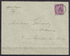 L. Entête Huissier Pâquet Affr. N°46 Càd HUY /20 OCT 1891 Pour Notaire à NOVILLE-LES-BOIS (au Dos: Càd LEUZE-LONGCHAMPS - 1884-1891 Léopold II