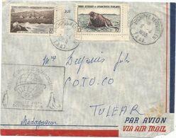 TAAF 15FR+8FR LETTRE AVION ARCHIPEL KERGUELEN 9.4.1958 T.A.A.F POUR TULEAR MADAGASCAR - Cartas