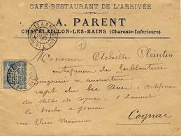1896- Env. à  En-tête  De Chatelaillon Affr. 15 C Sage Oblit Conv. Stat. LA ROCHELLE A ANGOULEME - Postmark Collection (Covers)