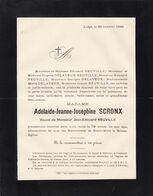 FLEMALLE-HAUTE LIEGE SCRONX Adélaïde Veuve NEUVILLE 72 Ans 1888 - Décès