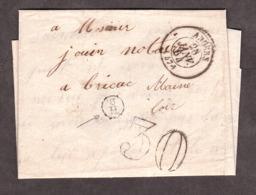 LAC - 28 Janvier 1864 - Indicatif Facteur : 3H Dans Un Cercle - Angers Pour Brissac (Maine Et Loire) - Port Dû Taxe 30 - 1849-1876: Klassik