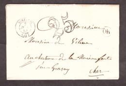 LAC - 7 Juillet 1853 - OR (Vignieu) - Morestel Pour Château De La Maisonfort Près Graçay - Port Dû Taxe 25 - 1849-1876: Klassik