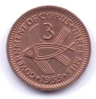 CYPRUS 1955: 3 Mils, KM 33 - Cipro