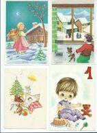 Lot - 4 Postcards- New Year,Scenes & Landscapes,children, Les Enfants,Teddy Bear - New Year