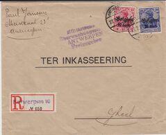Dt Bes 1 Weltkrieg Belgien Belgium Zensur RBf Not-R-Zettel Antwerpen 1917 - Occupazione 1914 – 18
