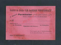 CARTE SOCIÉTÉ DE PÊCHE LE GARDON VERNONNAIS 1937 À VERNON VIERGE : - Fishing