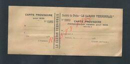 CARTE SOCIÉTÉ DE PÊCHE LE GARDON VERNONNAIS 1935 À VERNON VIERGE : - Fishing