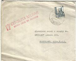 CANARIAS GUERRA CIVIL 1939 CC A USA CON CENSURA MILITAR SANTA CRUZ DE TENERIFE - 1931-50 Storia Postale