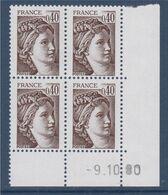 Sabine De Gandon N°2118 Brun Foncé 40c Neufs Coin Daté -9.10.80 - 1977-81 Sabine De Gandon