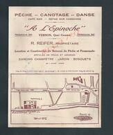 CARTE PUBLICITAIRE A L EPINOCHE PÊCHE CANOTAGE DANCE R REIFER À VERNON + PLAN : - Fishing
